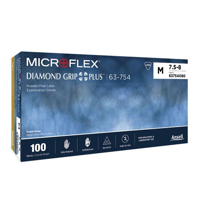 パウダーフリーラテックスグローブ Diamond Grip Plus