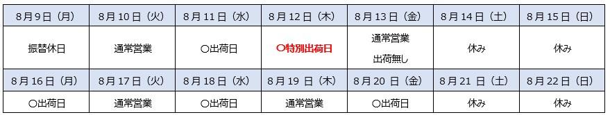 夏季期間出荷体制のカレンダー